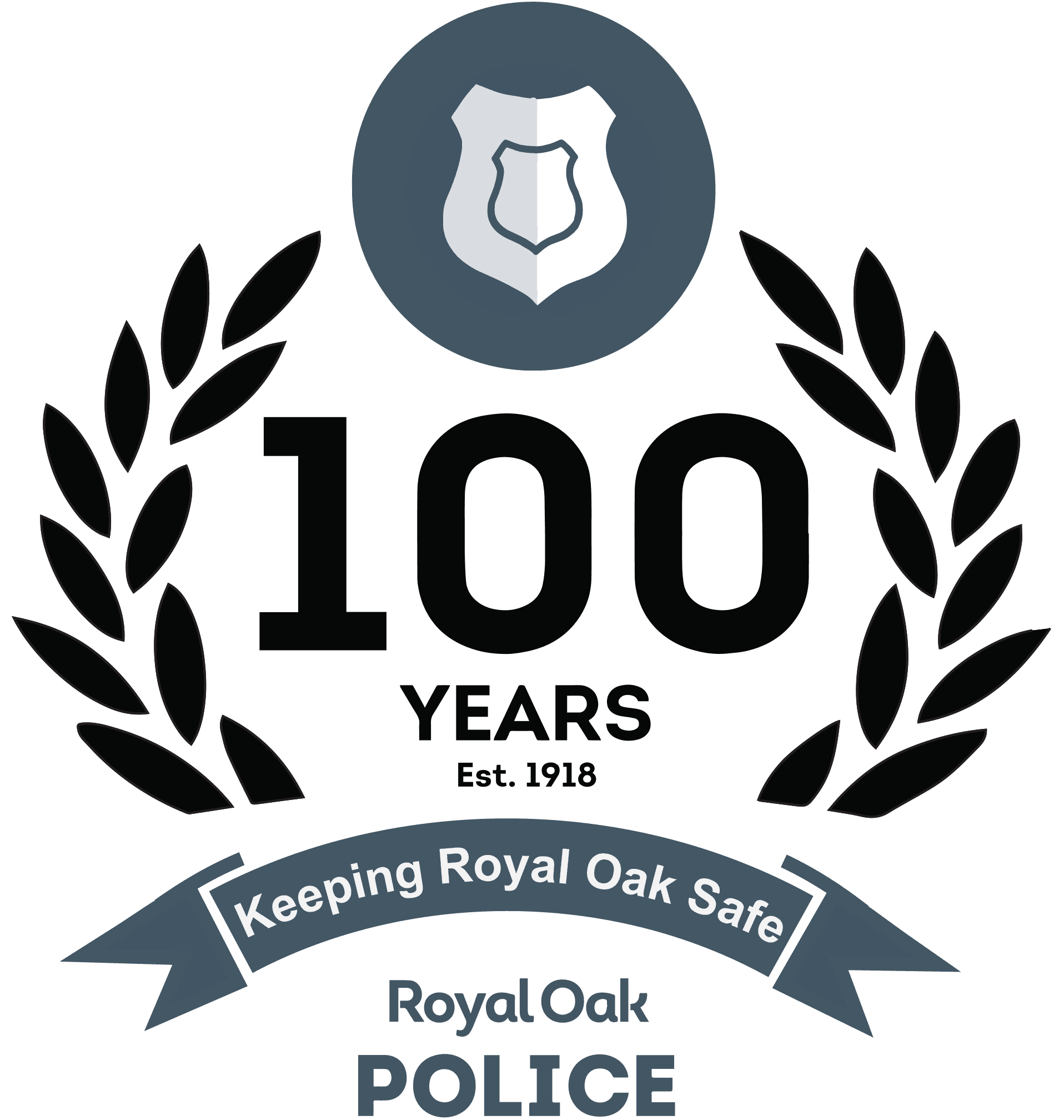 ROPD 100 Years Logo - Royal Oak Today - Black